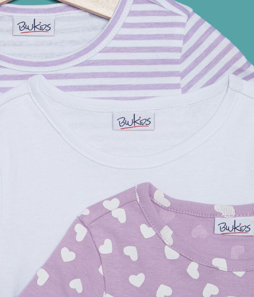 Set t-shirt fantasia e tinta unita bambina
