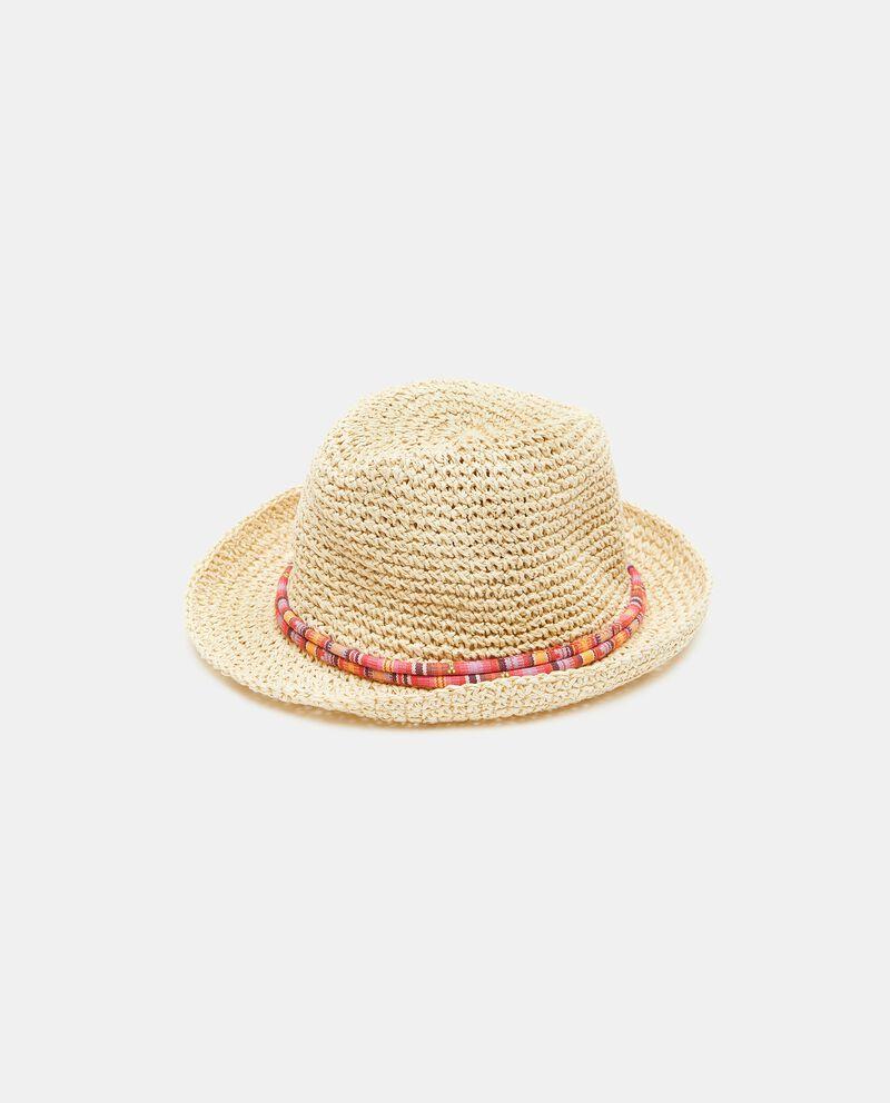 Cappello fedora crochet con cordino fantasia donna