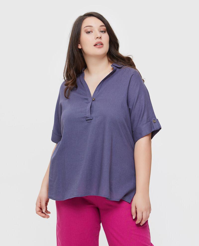 Camicia tinta unita in lino misto viscosa Curvy donna