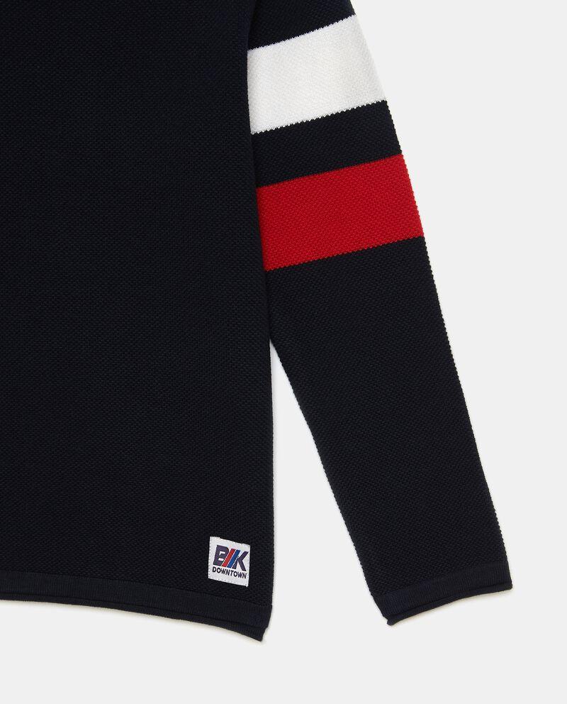 Pullover con bande puro cotone single tile 1
