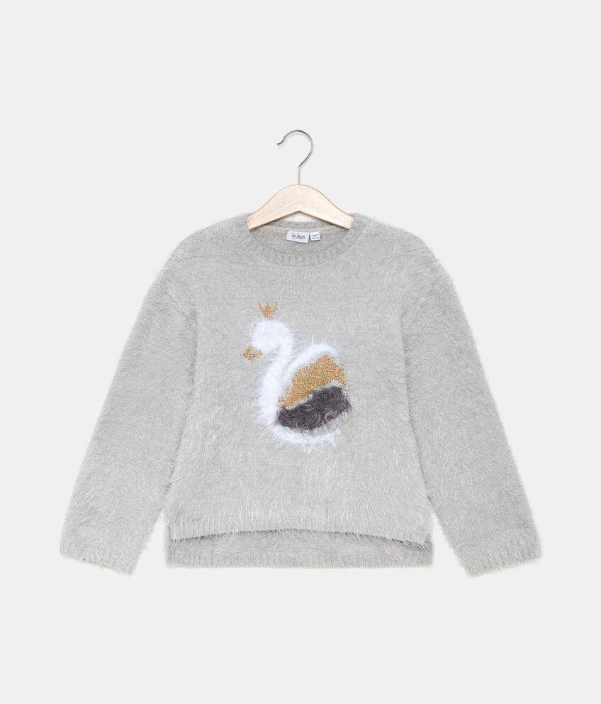 Maglione morbido con cigno bambina