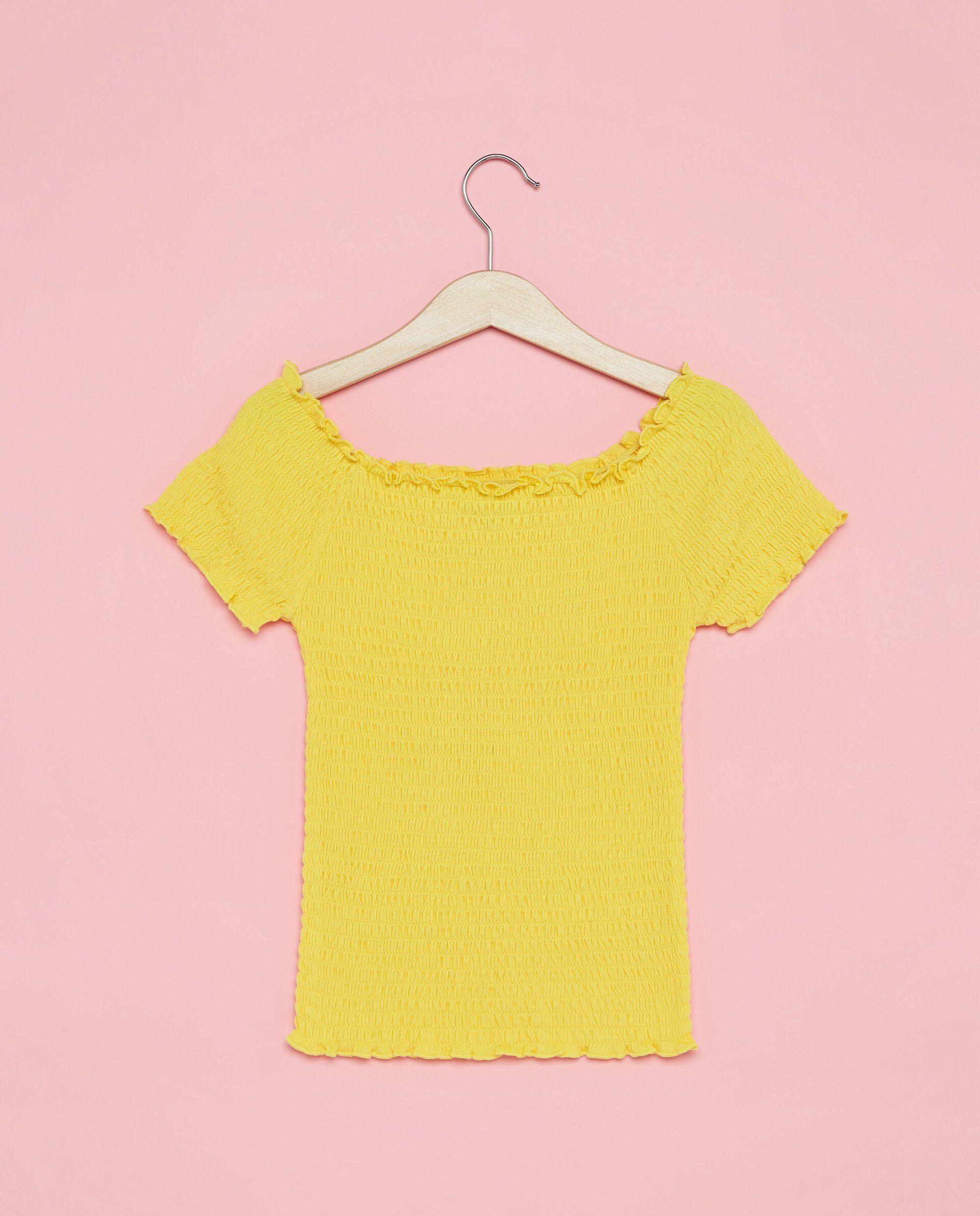 T-shirt punto smock scollo a barchetta