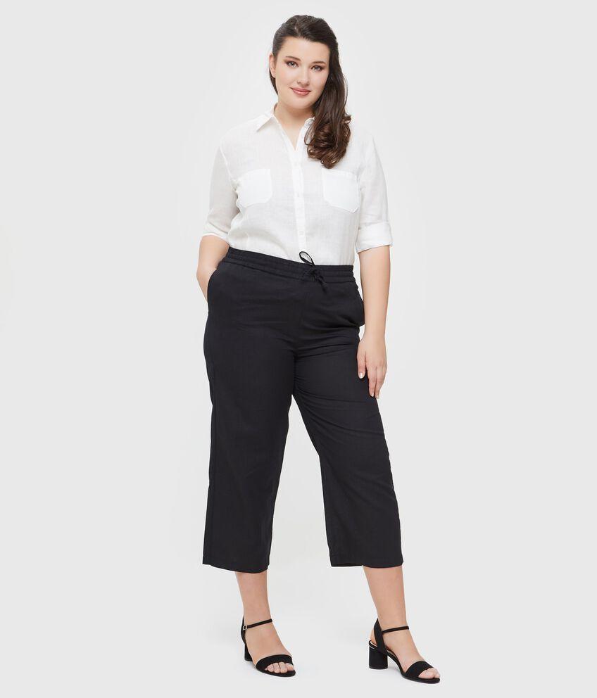 Pantaloni in tinta unita cotone misto lino Curvy donna
