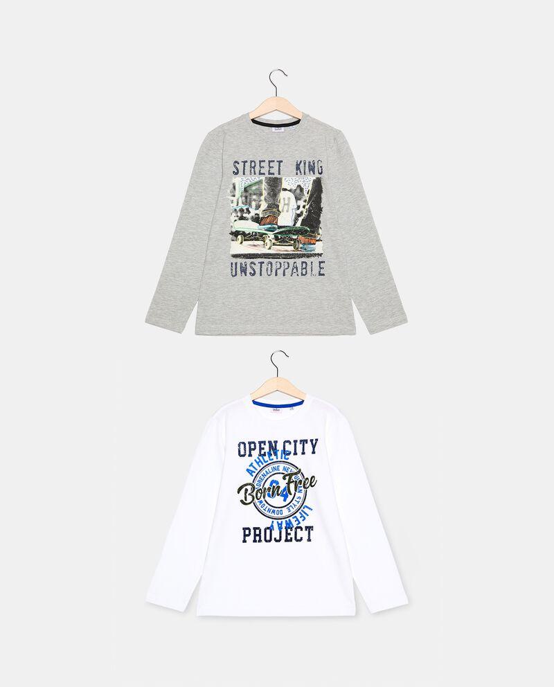 Set con 2 t-shirt di cotone biologico ragazzodouble bordered 0