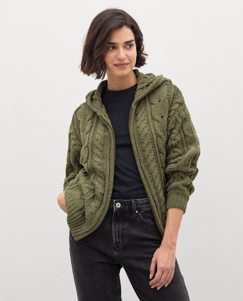 Cardigan tricot con zip donna cover