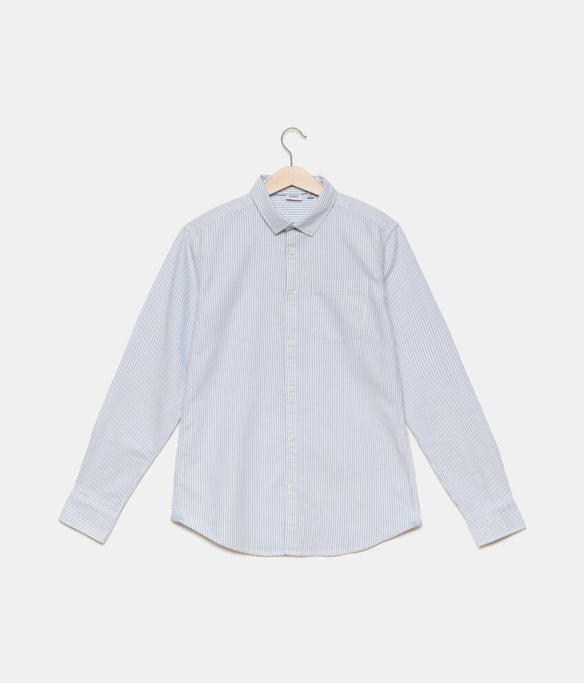 Camicia in puro cotone a righine ragazzo