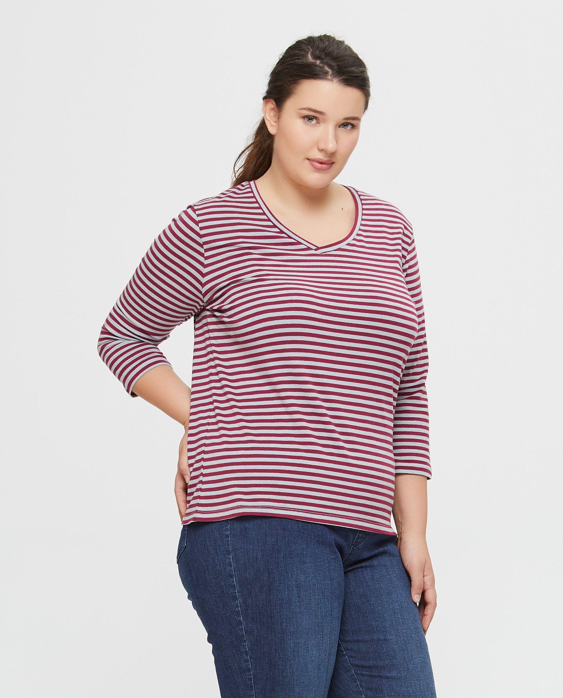 T-shirt scollo a V a righe linea comoda