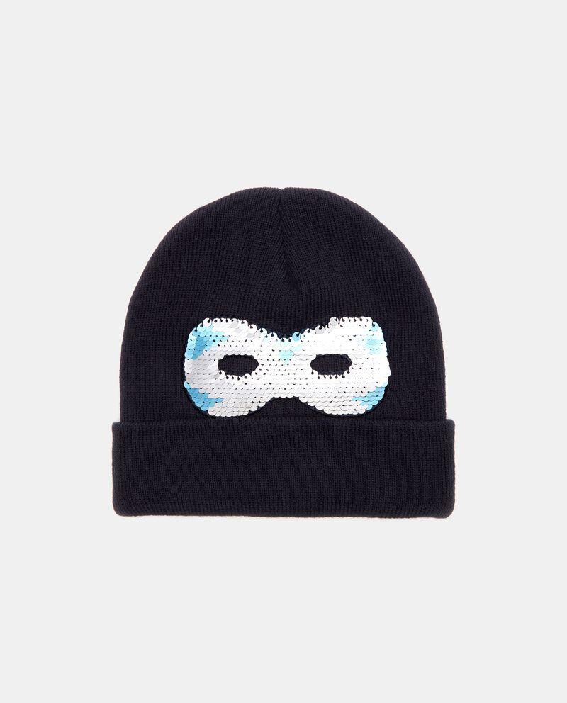 Cappello invernale con maschera in paillettes bambino