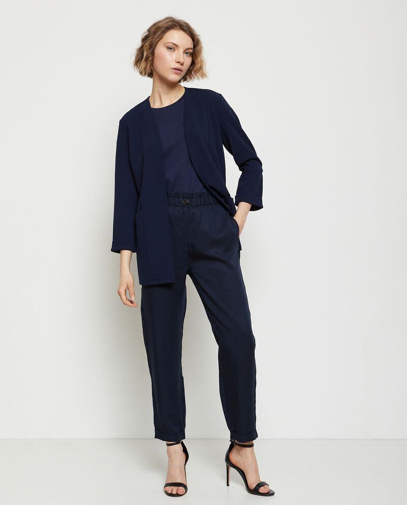 Pantaloni vita alta elasticizzata donna cover