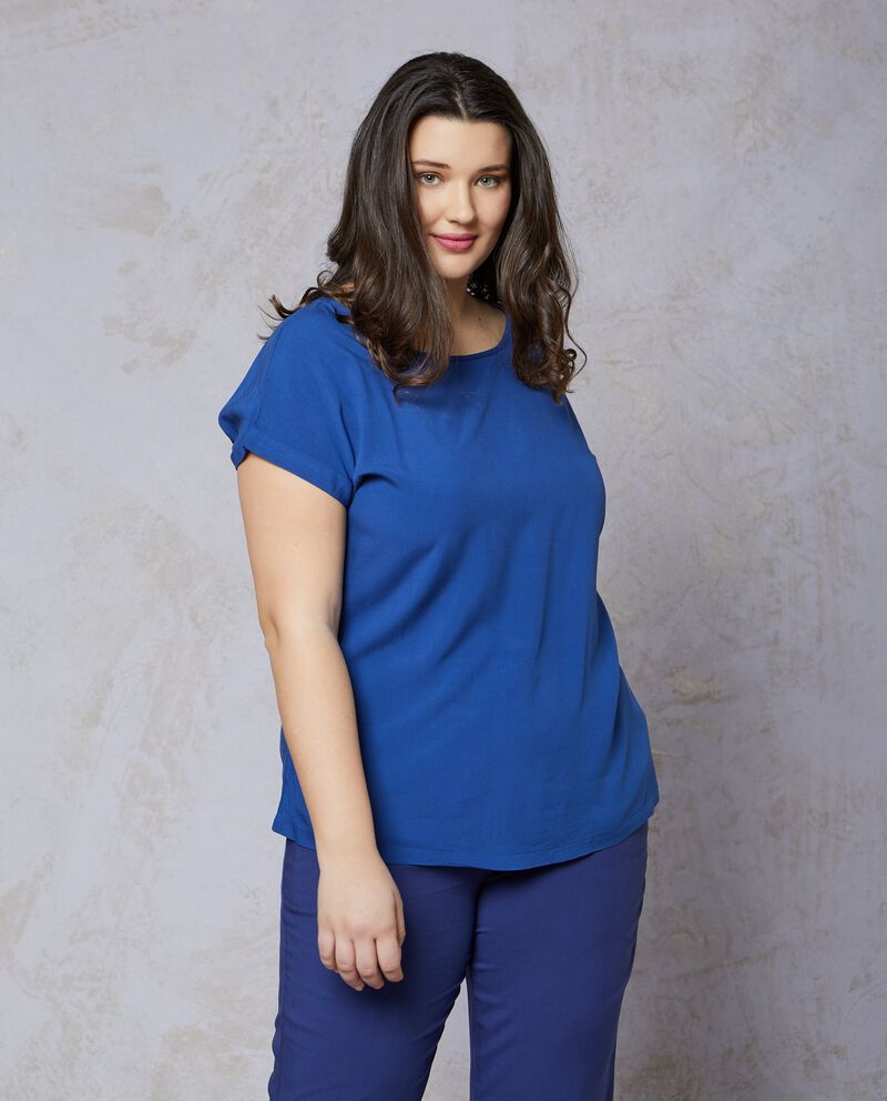 Blusa in pura viscosa tinta unita blu