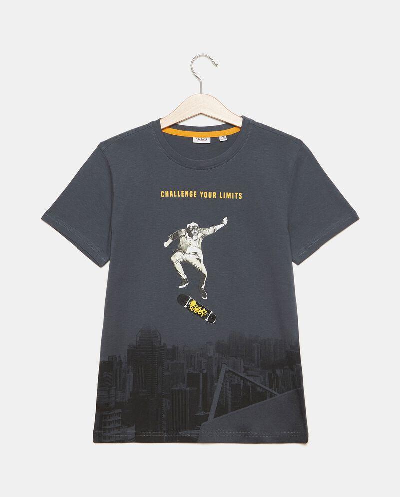 T-shirt puro cotone con stampa ragazzo