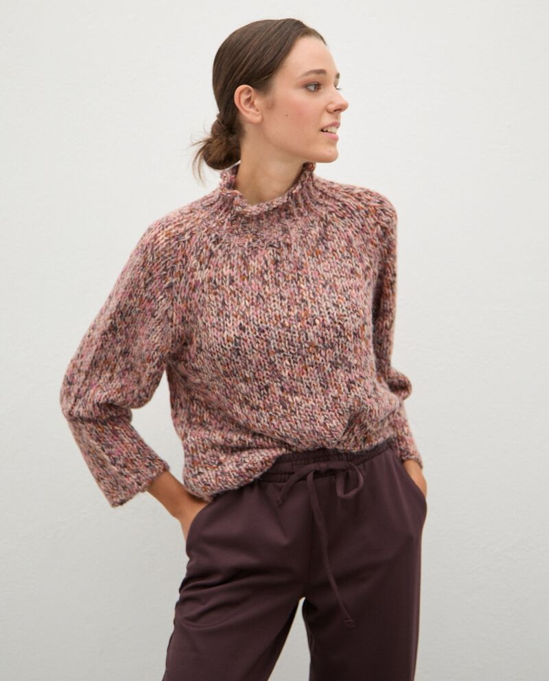 Maglione tricot knitwear con collo alto donna cover