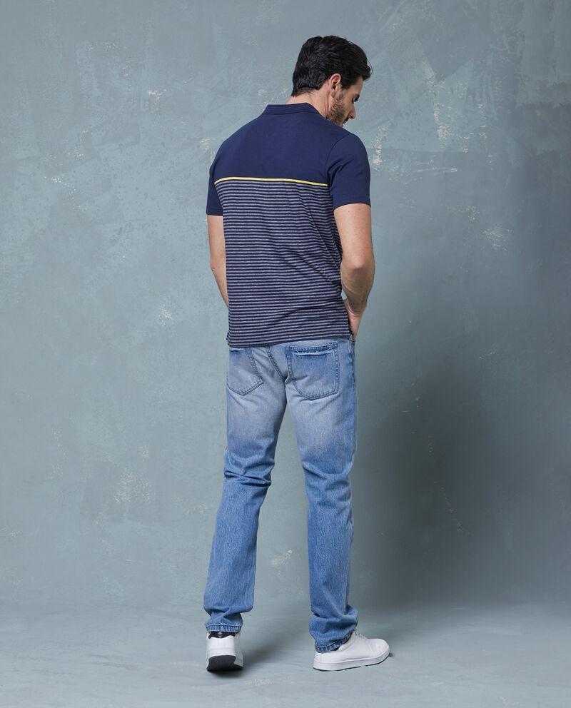 Polo blu in cotone a righe uomo