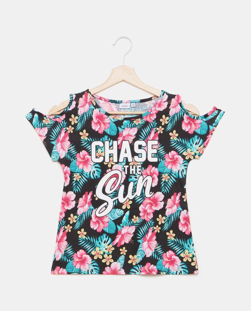 T-shirt in puro cotone con spalle scoperte ragazza