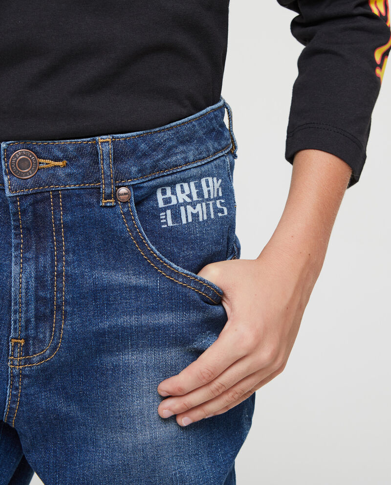Jeans cinque tasche stampa lettering
