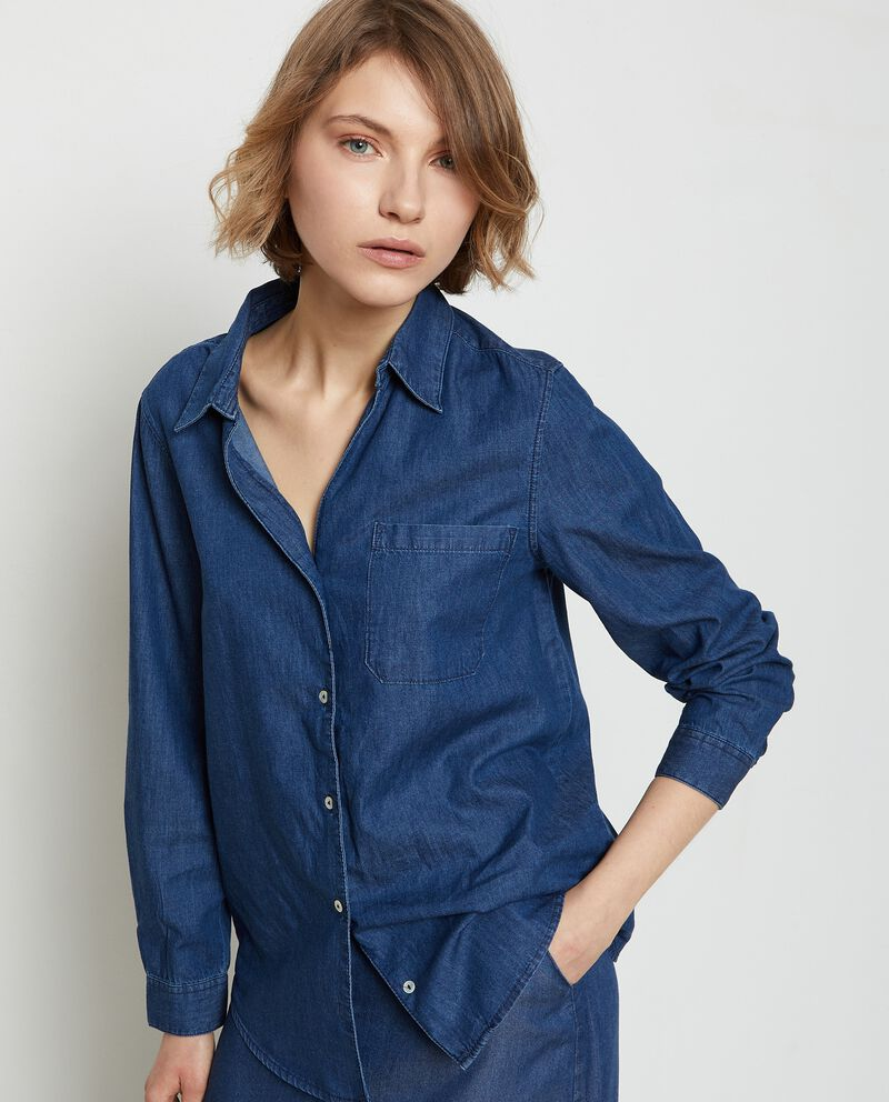 Camicia denim in puro cotone donna