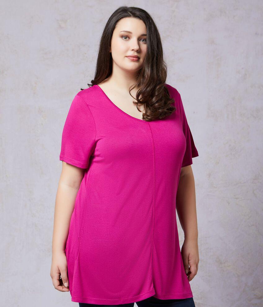 T-shirt in pura viscosa in tinta unita Curvy donna