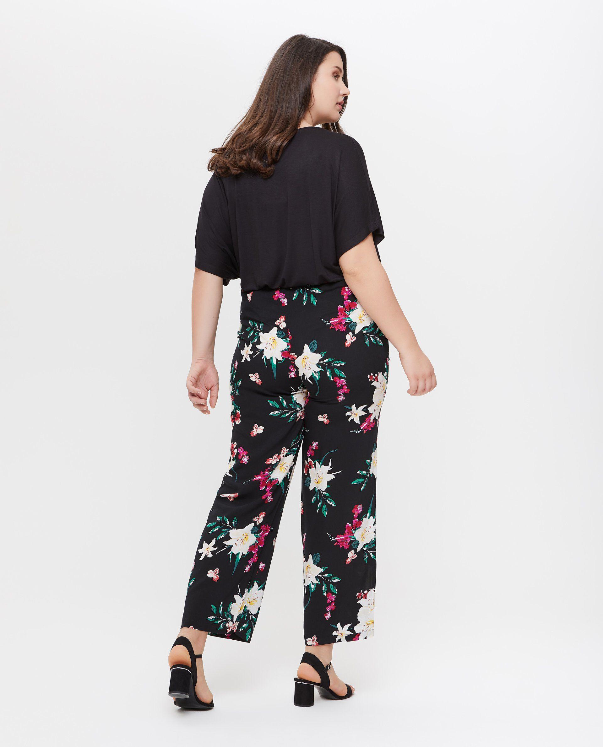 Pantaloni in pura viscosa con fantasia floreale Curvy donna