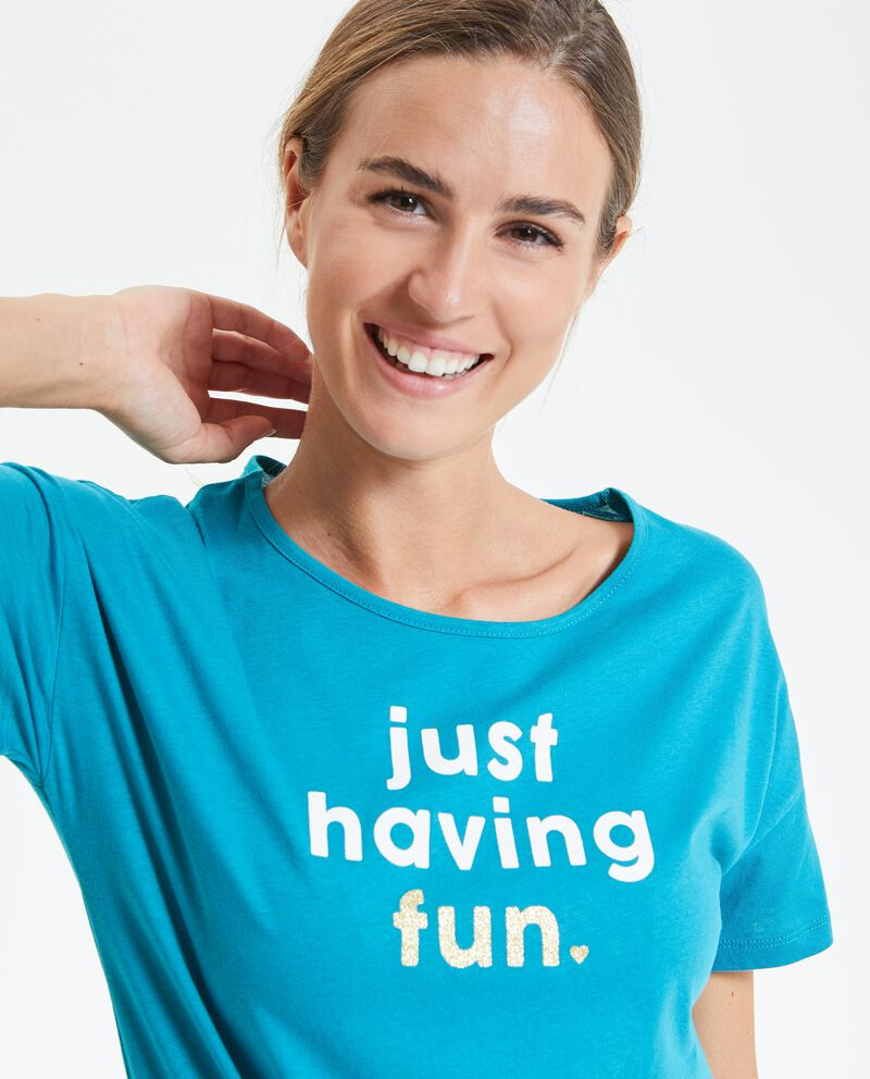 Top Fitness con lettering donna