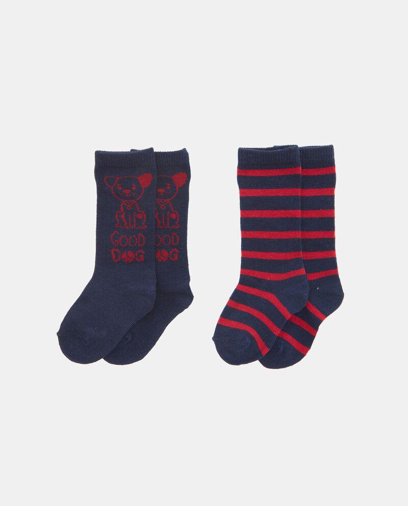 Set calzini con disegno e motivo a righe neonato