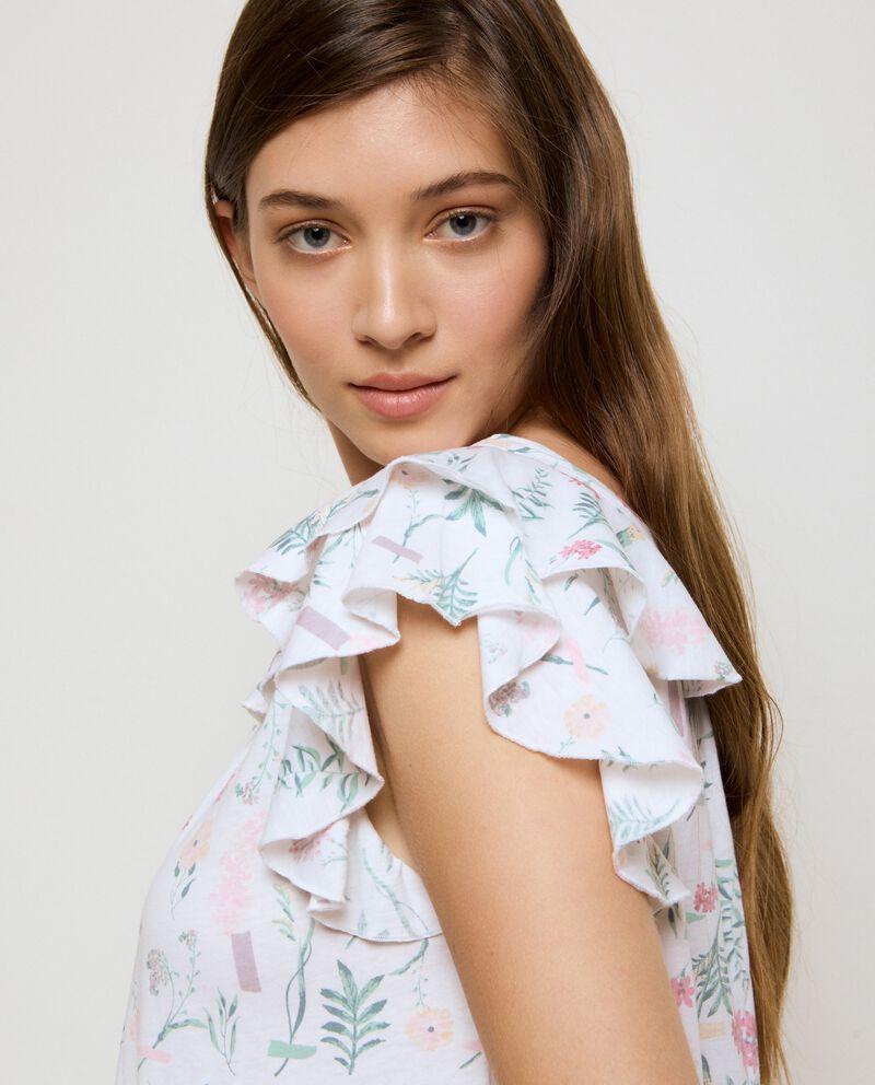 Camicia da notte a maniche corte volant in cotone organico donna single tile 2