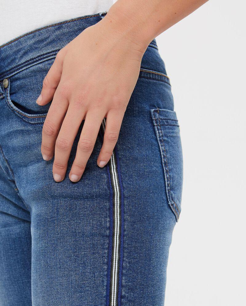 Jeans in cotone skinny con bande laterali