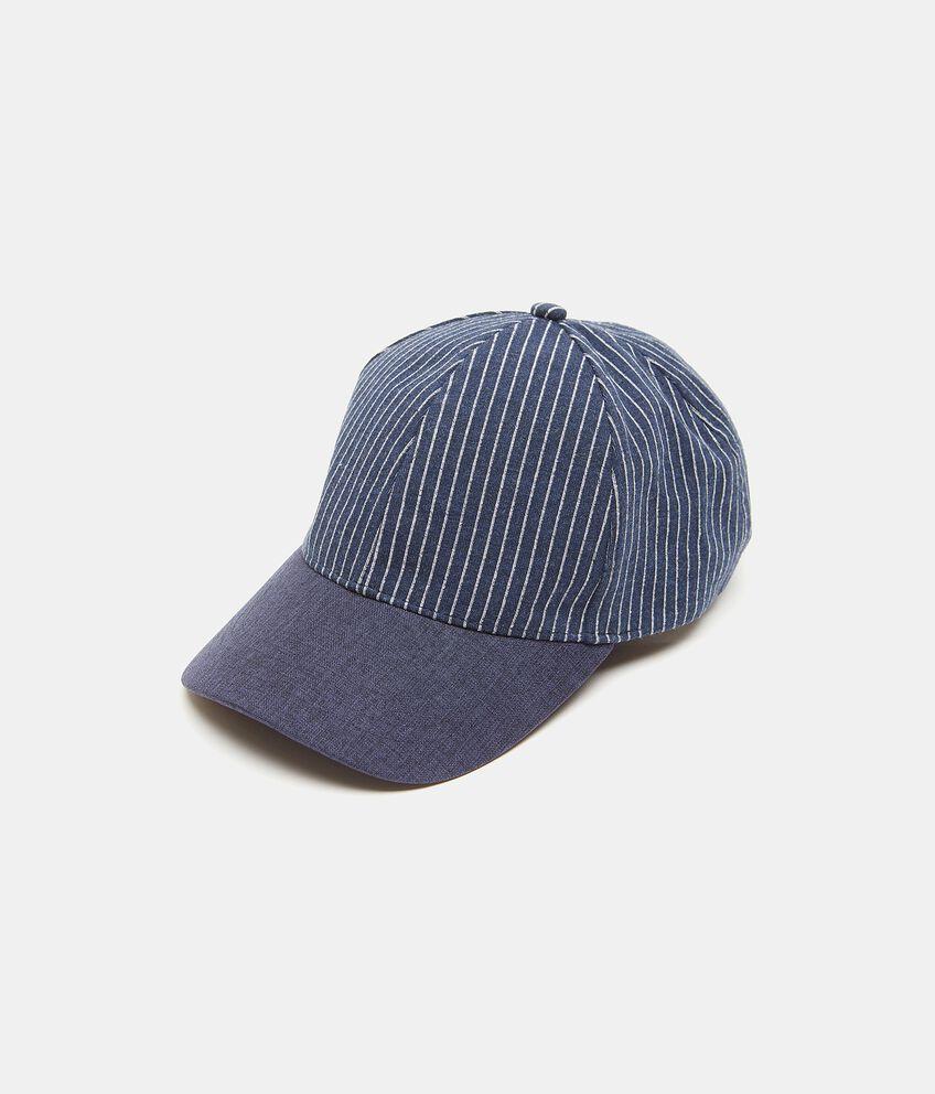 Cappello da baseball a righe in puro cotone uomo
