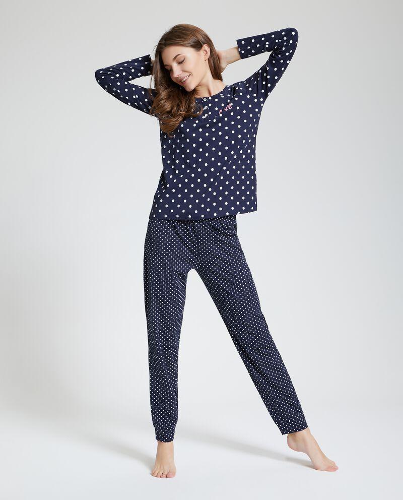 Set pigiama in puro cotone pois donna