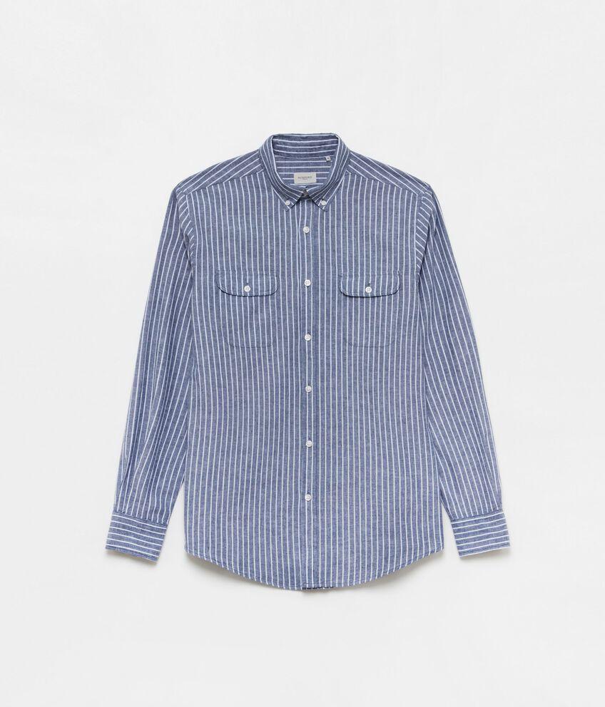 Camicia cotone e lino button-down double 1