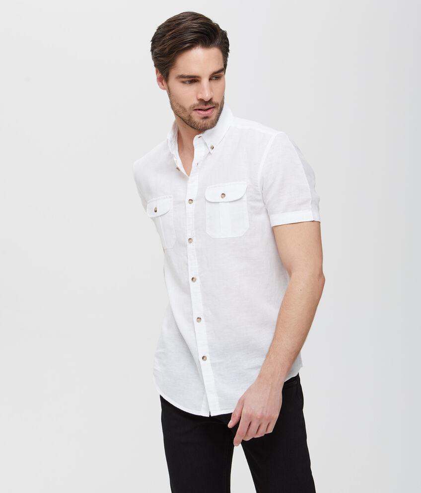 Camicia in lino e cotone bianca a maniche corte uomo