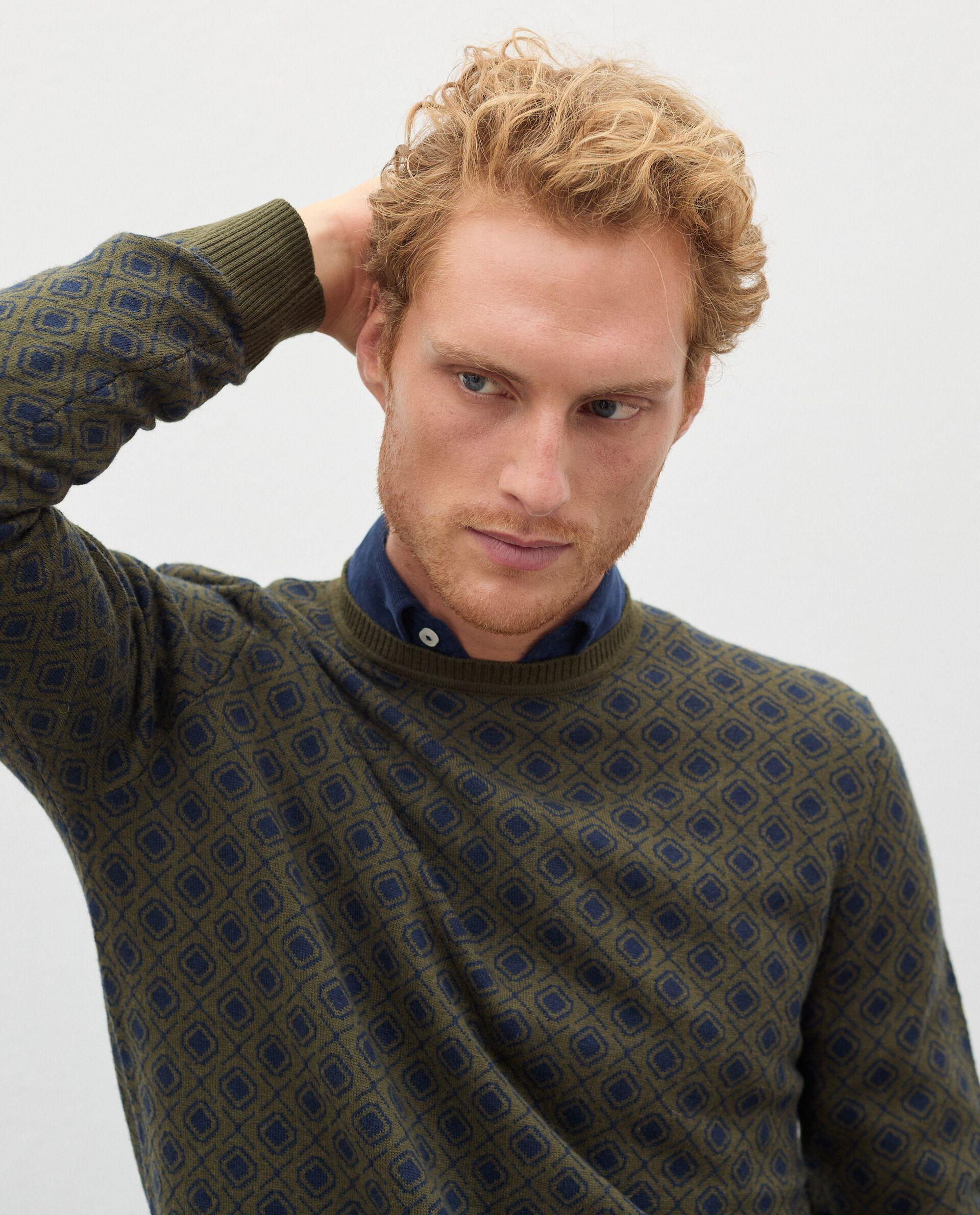 Pullover jacquard in cotone misto lana uomo