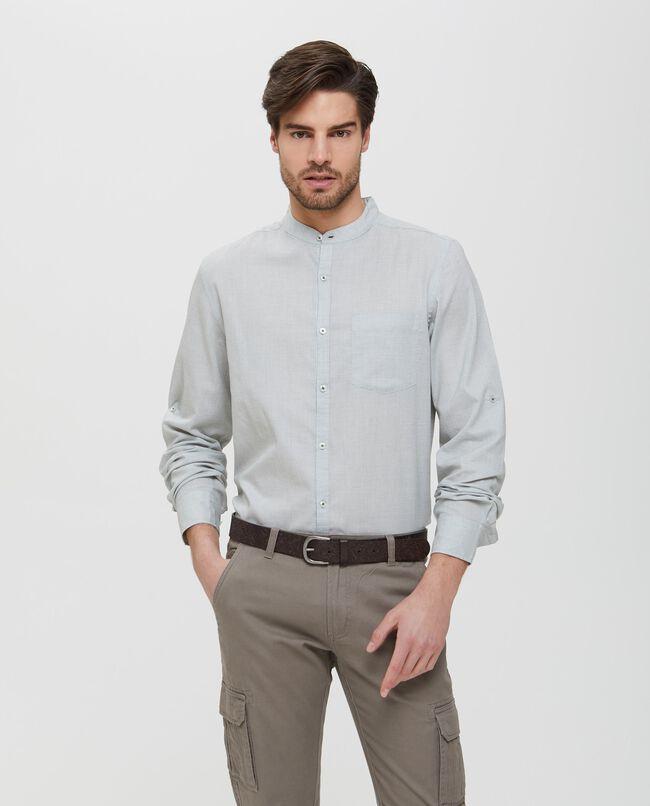 Camicia in puro cotone grigia a maniche lunghe uomo