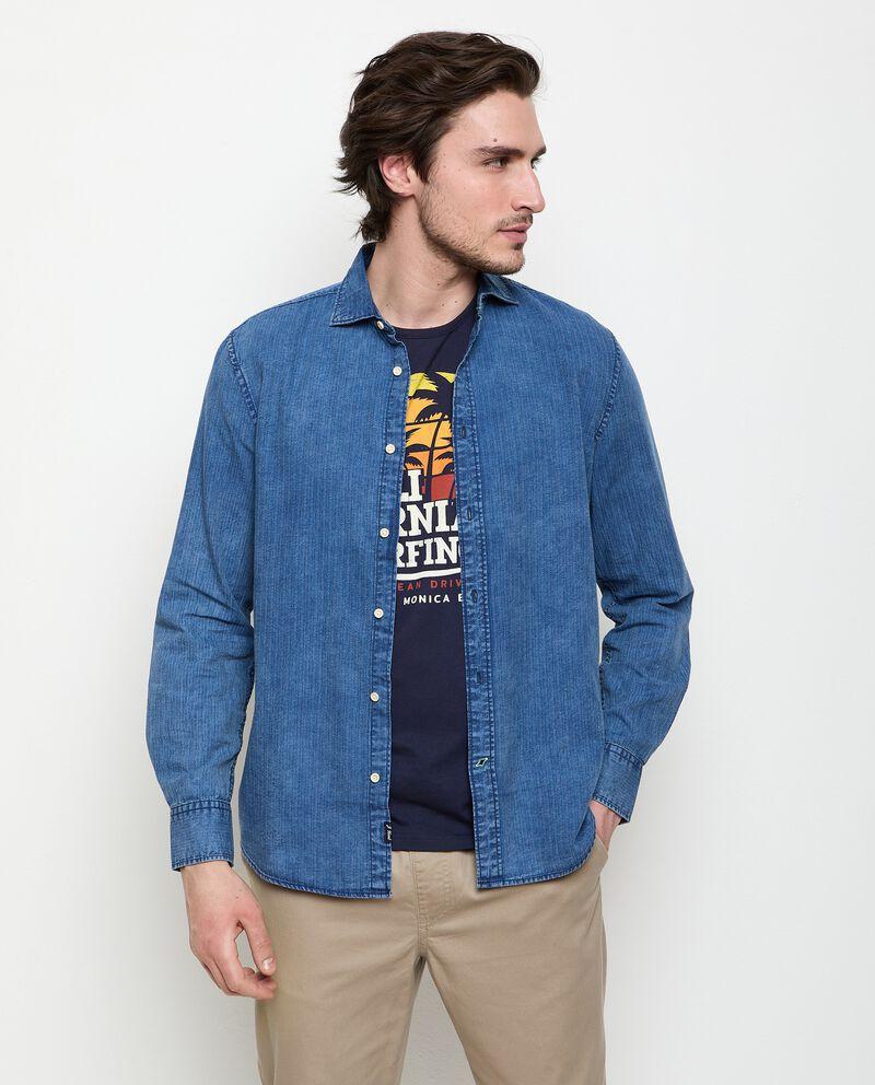 Camicia in denim puro cotone uomo cover