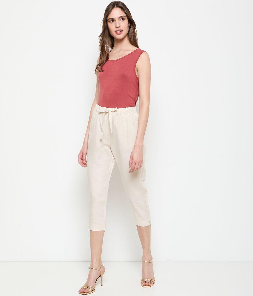 Pantaloni in puro lino capri donna double 1