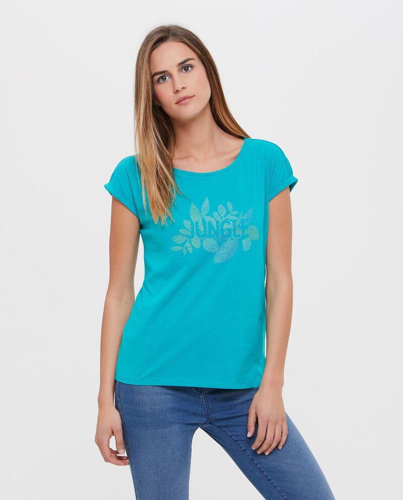 T-shirt con lettering e disegno in puro cotone donna