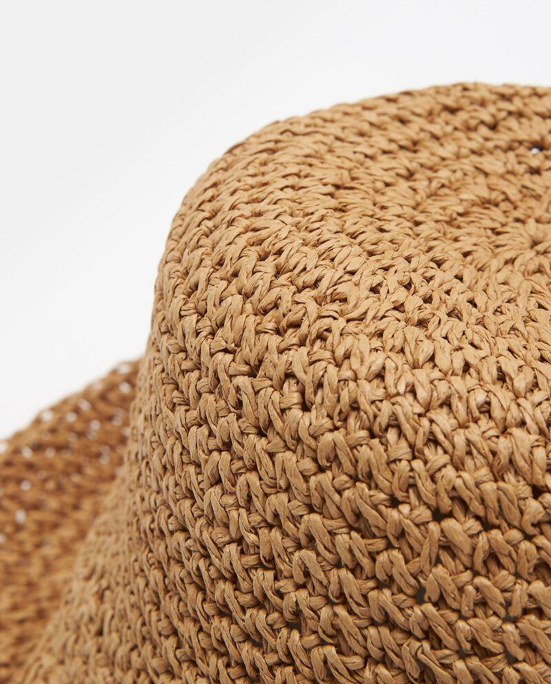 Cappello beige in paglia di carta modello alpino
