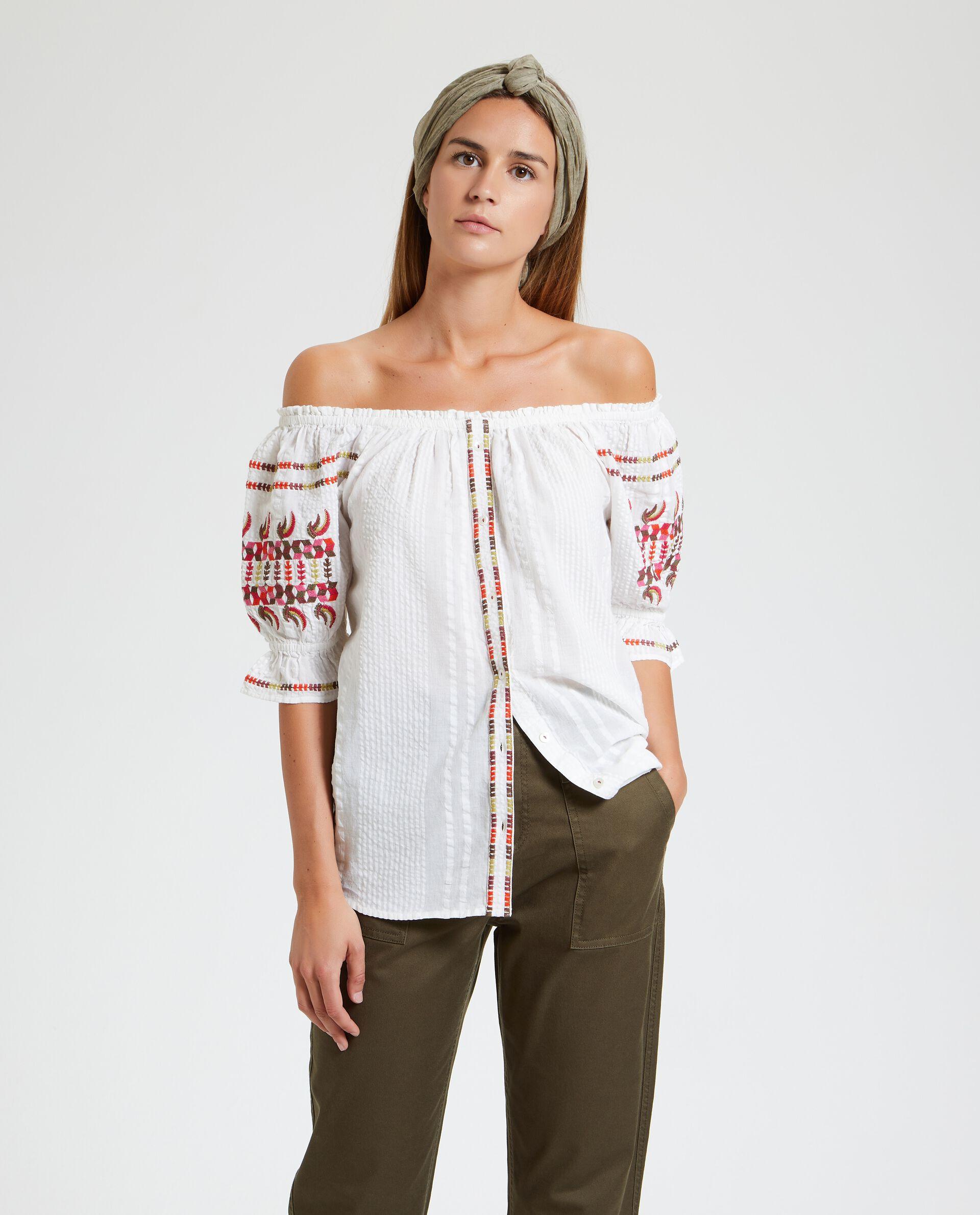 Camicia con spalle scoperte e ricami donna