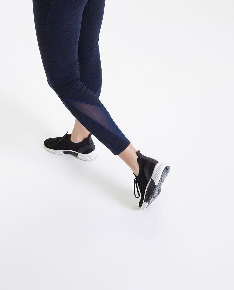 Leggings in fantasia con inserti in velo Fitness donna