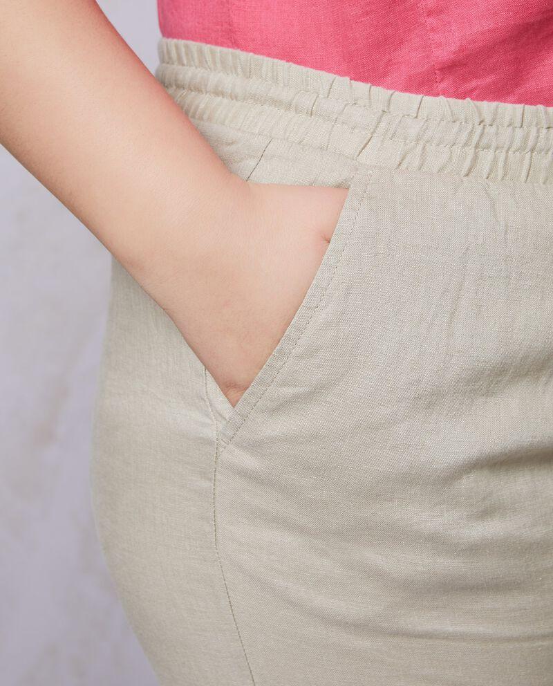 Pantaloni tinta unita in puro lino Curvy donna