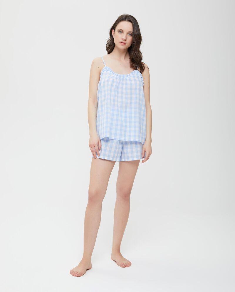 Canotta pigiama in puro cotone a quadri donna