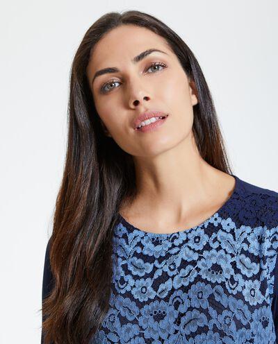 Maglietta maniche lunghe con pizzo donna