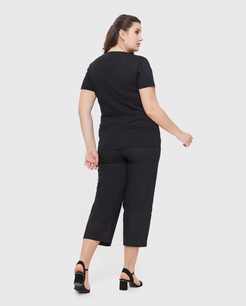 T-shirt con pizzo in tinta unita puro cotone donna
