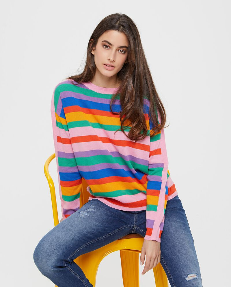 Maglione con motivo a righe colorate donna