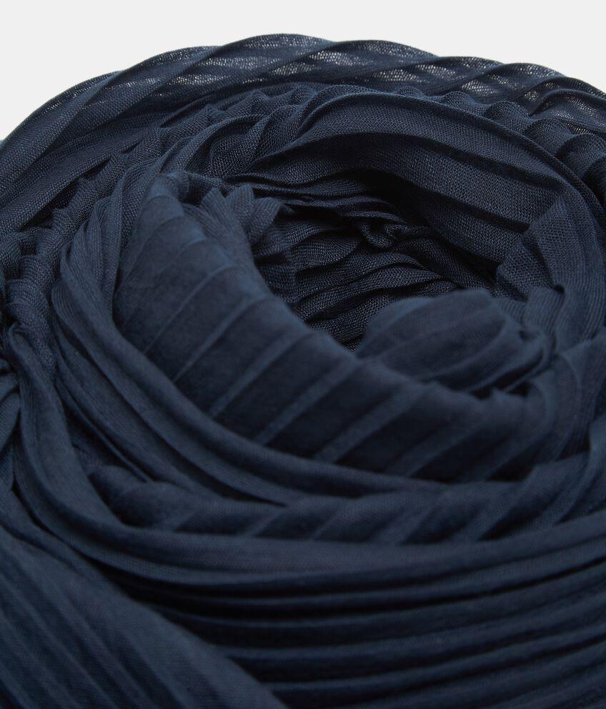 Sciarpa blu effetto plissé donna