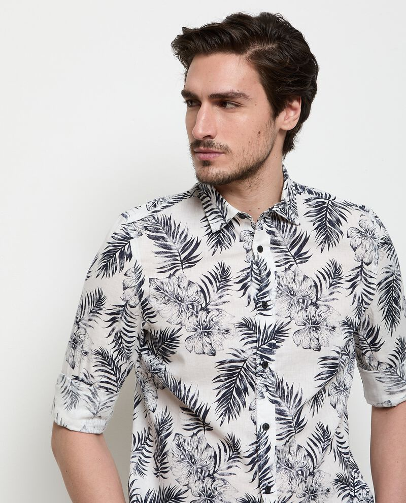 Camicia stampata in misto lino uomo