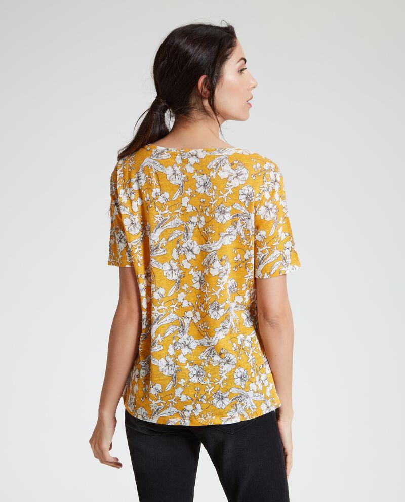 T-shirt in puro lino con fantasia floreale donna