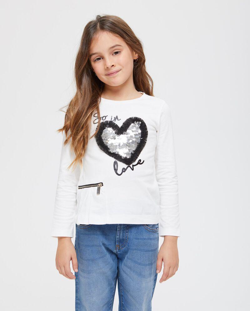 T-shirt puro cotone paillettes e zip