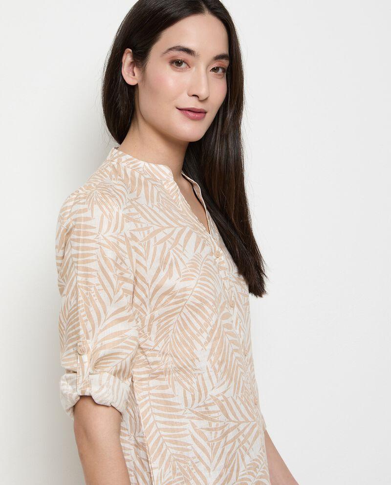 Camicia stampata in puro lino donna single tile 2