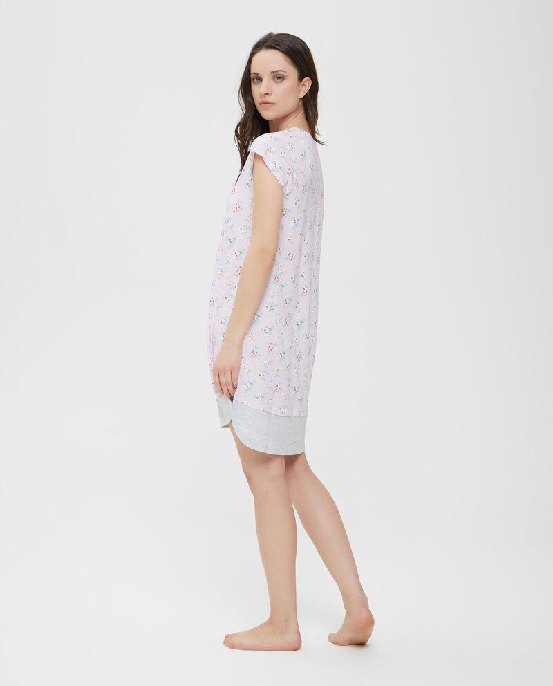 Camicia da notte rosa in puro cotone con fantasia donna