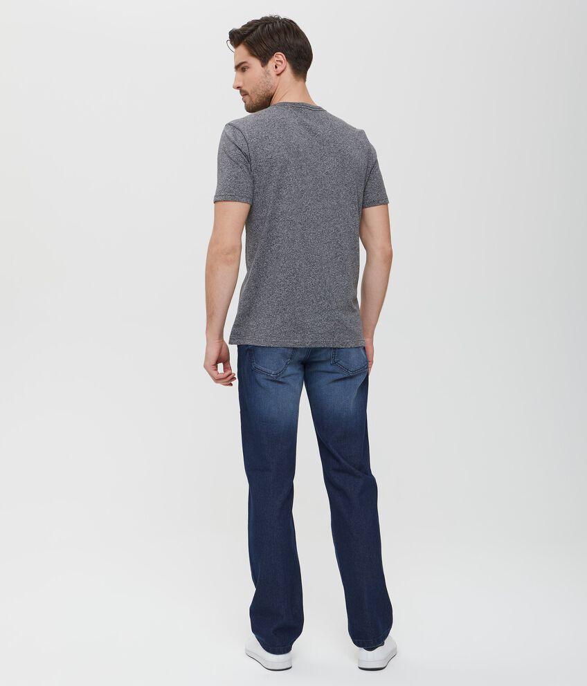 T-shirt nera in cotone effetto mélange uomo